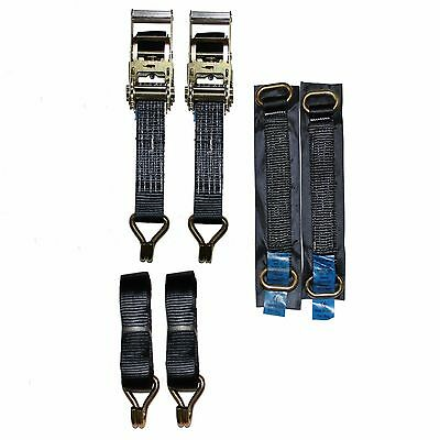 Recovery Ratchet 2 x 4mtr Black Transporter Strap Short Handles Metal Ring