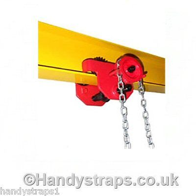 1Tonne Geared Beam Trolley Size 52-220MM. Handy Straps