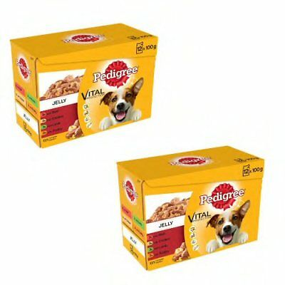 Pedigree Dog Pouches Mixed Varieties in Jelly, 24 x 100g pet food
