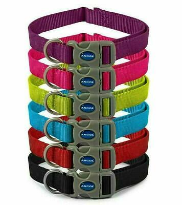 Dog Collar Ancol Nylon Adjustable Red Blue Black Petrol Purple Teal 3 sizes