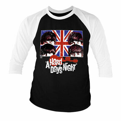 Officially Licensed The Beatles - A Hard Days Night Baseball 3/4 Sleeve T-Shirt