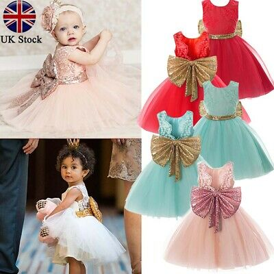 Baby Children Dresses Sleeveless Sequins Bow Wedding Princess Party Girls Dress