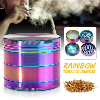 4 Layers Metal Zinc Alloy Rainbow Tobacco Herb Grinder Hand Muller Smoke  AU