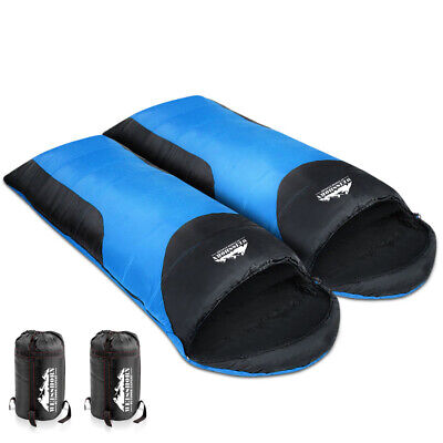 WEISSHORN Camping Envelope Double Sleeping Bag -10°C Thermal Tent Hiking Blue