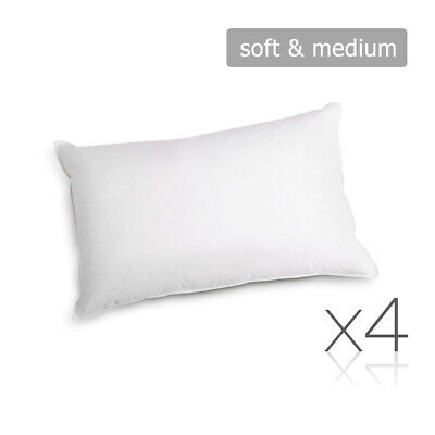 Giselle Bedding Family 4 Pack Bed Pillow Soft Medium Cotton Cover 48X73CM Hotel