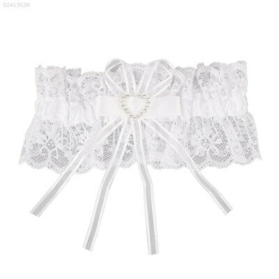 84C0 Ivory Satin Luxury Lace Bridal Fancy Bow Wedding Garter With Lucky Blue