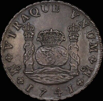 Mexico 1741 Silver 8 Reales Pillar Dollar KM# 103 about Unc