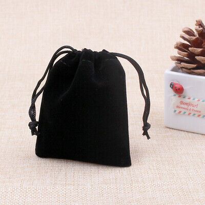 Black Small Gift Bag Velvet Cloth Jewelry Pouch Drawstring Wedding Favors Bags