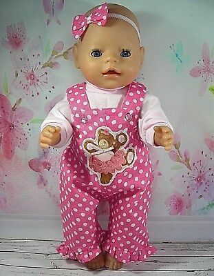 "Dolls clothes  for 17"" Baby Born  doll~BALLERINA TEDDY BEAR PINK SPOTTY OVERALLS"