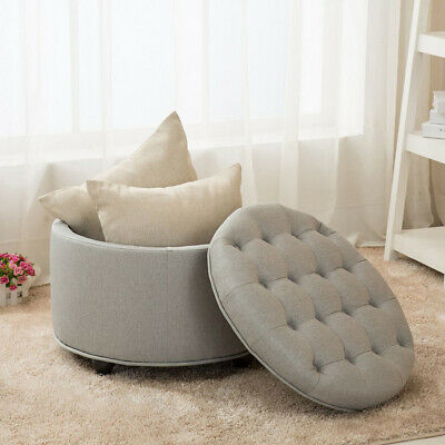 Large Round Ottoman Button Tufted Storage Ottomans Footrest Stool Living Room