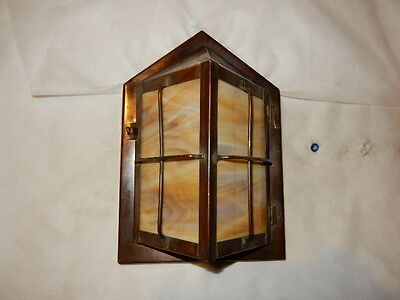 Brass Arts & Crafts Mission Porch Light Sconce Fixture Bronze Patina Finish