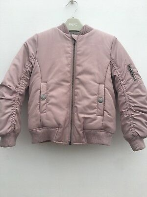 Girls Gorgeous NEXT Pink Fleece Lined Coat With Japenese Pattern Age 5