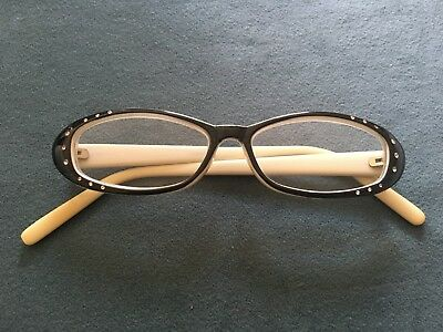 1940s 50s Vintage Retro Black and Cream Rhinestone Eye Glasses Spectacle Frames