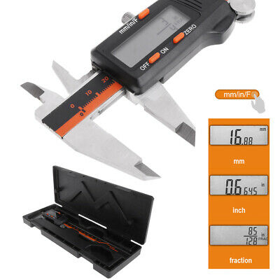 Electronic Digital Caliper Inch/Metric/Fractions 0-6 Inch 150 mm Stainless Steel