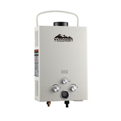 Gas Hot Water Heater Portable Shower Camping LPG Outdoor Instant 4WD Beige @SAV