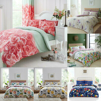 Floral Print Duvet Cover Set Single Super King Size Double Bedding Quilt Cover