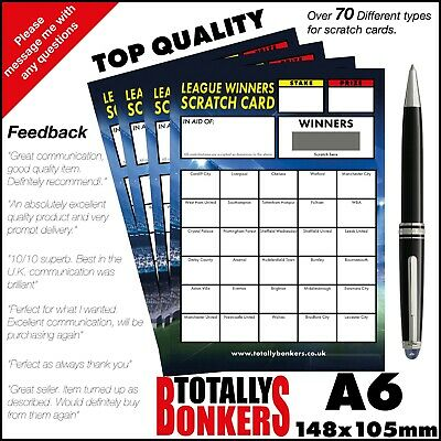 Football Fundraising Scratch Cards  30 Teams - League Winners - Free Uk Postage
