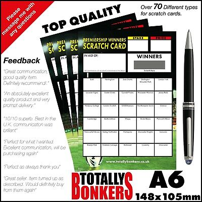 Rugby Union Fundraising Scratch Cards  30 Teams - Winners - Free Uk Postage
