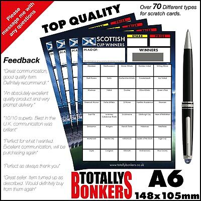 Scottish Cup Winners Fundraising Scratch Cards  40 Teams - Football Free Postage