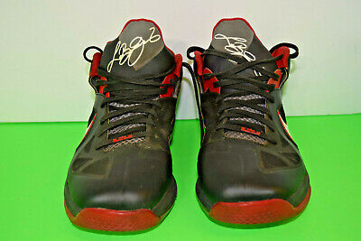 new product 1528c 00871 Nike Air Zoom Max Lebron 9 IX Bred Black Red Miami Heat Away Size 12 510811