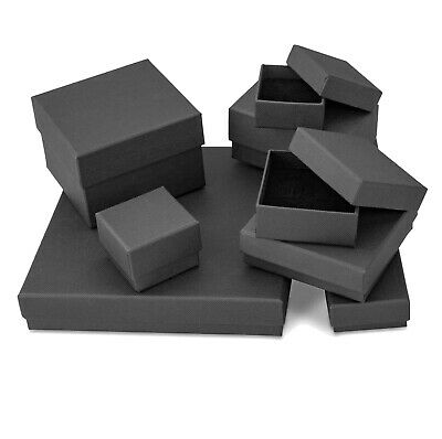 Black Matte Finish Card Gift Boxes for Jewellery, Various Sizes