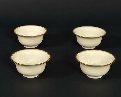 "Lot of 4 LENOX Bouillon Liners #86 Ramekins Gold Trim LB86J Small 2"" Bowl Cream"