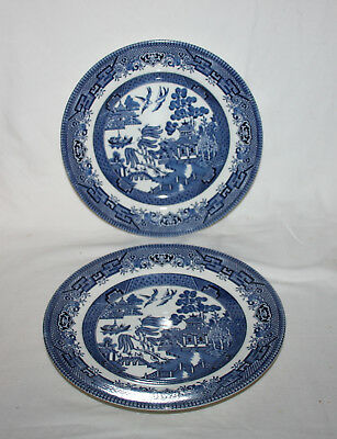 CHURCHILL ENGLAND BLUE WILLOW PLATE LOT OF 2 Vintage 8 Inch Dinnerware