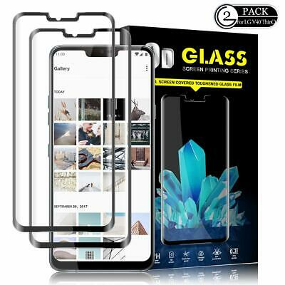 [2 Pack] 5D Full Coverage Tempered Glass Screen Protector Guard for LG V40 ThinQ