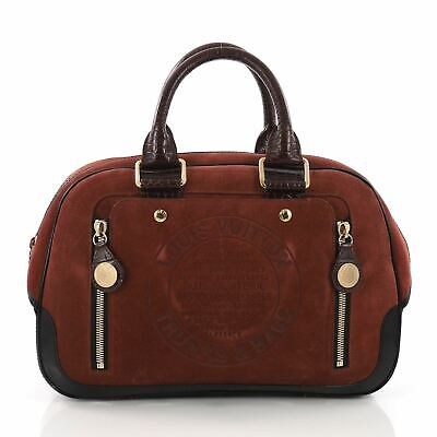 af6941570365 AUTHENTIC LOUIS VUITTON LV Havane Stamped Trunk Bowler Bag Suede GM ...