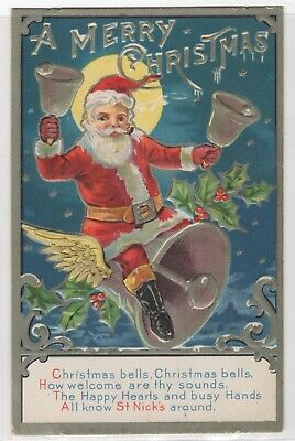 ab2ee0ec5fc1 Santa Claus St Nick Riding Large Bell Smoking Pipe Christmas Embossed  Postcard