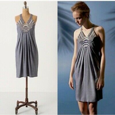 bc59ad6f3965 Anthropologie Ranna Gill Wiltern Chambray Embroidered/Woven Tunic Dress  Size M