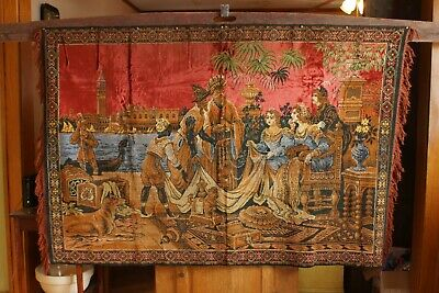 Antique 19th Century French Woven Pictorial Narrative Tapestry Large