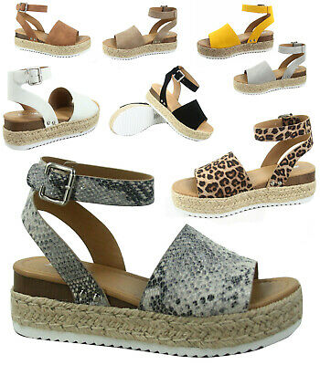 cf4f884b35b Women s Beige Python Ankle Strap Buckle Platform Espadrille Sandals Shoes  NEW