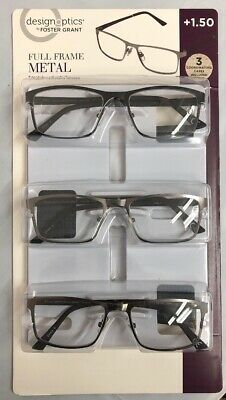 7606bef86f48 DESIGN OPTICS FOSTER Grant Full Frame Metal +1.50 Reading Glasses ...