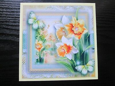 NEW==== 2 x Gorgeous Daffodil & Butterfly Card making Toppers & Sentiments