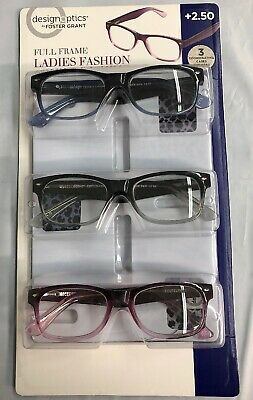 6dba958db063 Design Optics Foster Grant Full Frame Ladies Fashion +2.50 Reading Glasses  3Pk