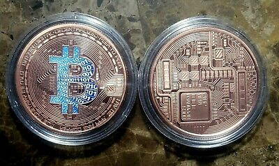 Bitcoin Digital Currency Colourized /& Encapsulated 1oz Copper Bullion Round!!
