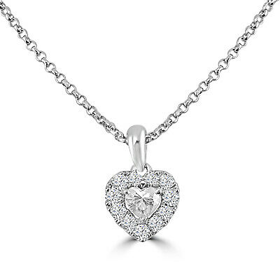 1/2ct Natural Heart Shape Diamond 14k White Gold Halo Heart Pendant Necklace