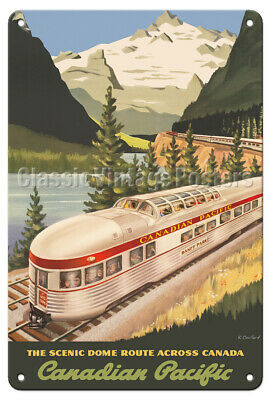 Canadian Pacific Railroad 1952 Vintage Poster Print Art Travel Canada Mountains