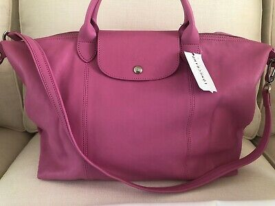 502d550cb30c NEW w dustbag Longchamp Le Pliage Cuir Leather Tote Pink Medium Handbag  Foldable