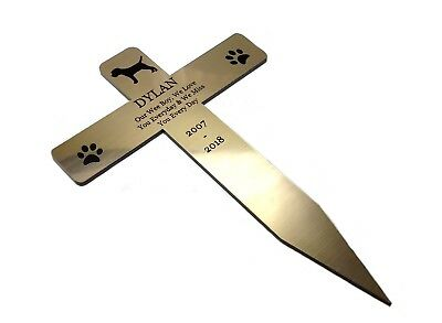 Personalised Pet Dog Memorial Cross Plaque Stake GOLD - Outdoor Garden