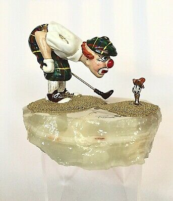 Ron Lee Signed & Dated Clown Golfer Sculpture Statuette On Polished Onyx Base