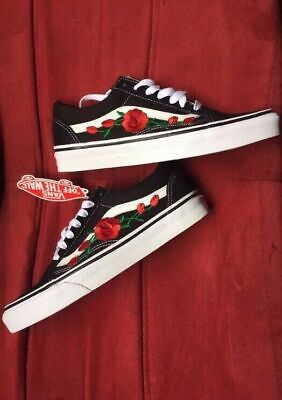 538545a3ae27 New Custom Vans Old Skool Skateboarding Red Rose   Pink Rose Embroidery  Patch