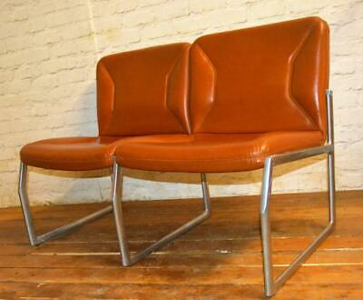 Mid century two seater sofa vintage chairs retro leather antique lounge club tub