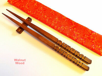 Personalized Chopsticks, Walnut Wood, Custom Carved to Order in the USA