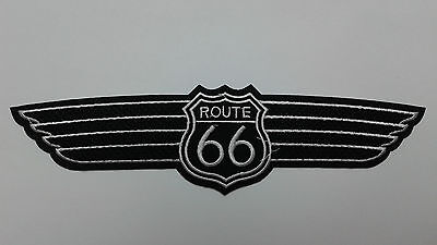 """1 PC ROUTE 66 WING biker Emb patch, L.8-1/4"""" sew/iron-on"""