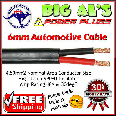 30 metre x 6mm Twin Core, Sheath Automotive Dual Battery Cable Wire Trailer 4x4