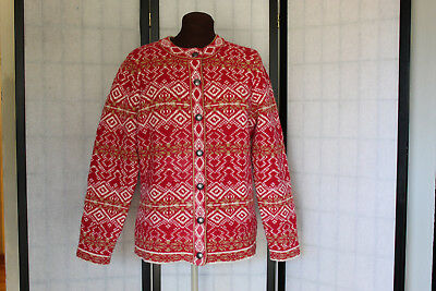 e802a237e65 L.l. Bean Very Nice Wool Sweater cardigan Red And White Nordic Pattern Sz L  Euc