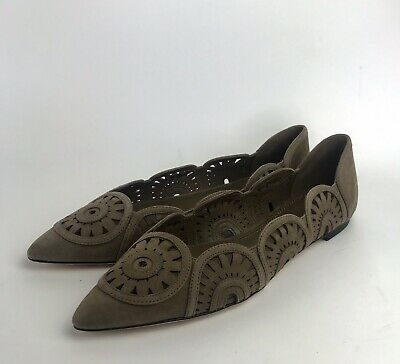 3cb540eeb TORY BURCH NWT  295 Brown Leyla Laser Cut SUEDE LEATHER Flats 8.5 Shoes  Dust Bag