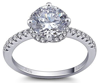 Stunning Brilliant Cut Round Cubic Zirconia Solitaire Ring With Pave Set Silver